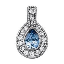 Pear Sapphire and Diamond halo pendant