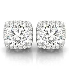 cushion diamond halo stud earrings