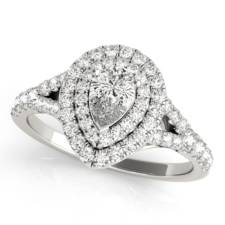 pear shape diamond double halo engagement ring